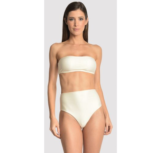 Cream 3 piece set: high waist bottom, bandeau top and a cover up - VEST OFF WHITE