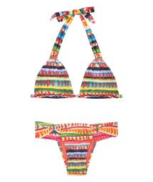 Halterneck triangle bikini in a colourful  ethnic print - VOLPI