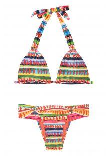 Farvestrålende trekant bikini med tørklædeeffekt og etnisk mønster - VOLPI
