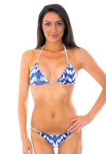 Blue and white Brazilian bikini, long fringing - SHAPE FRANJA