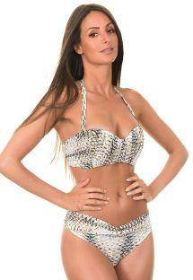 Sé tan sensual como desees gracias a este bikini con corpiño plisado perfectamente ajustado, con una parte de abajo ligeramente recortada. Una creación picante de la firma Limonada - ESTELA ESCAMAS