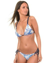 This reversible navy blue satin bikini withconvertible straps and lnks is the only beachwear you need - FURTA