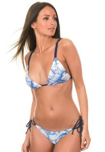 This reversible navy blue satin bikini with convertible straps and lnks is the only beachwear you need - FURTA