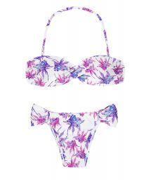 Floral lavender/white bandeau bikini - TEQUILA