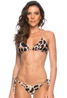 Animal pattern side-tie triangle bikini - AGRIAO
