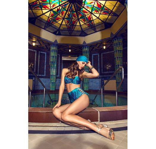 Blue laced bandeau bikini in reptile print, high-waist bottom - AMARRA DIAMOND