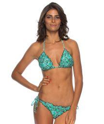Blue print scrunch bikini with wavy edges - AQUA RIPPLE