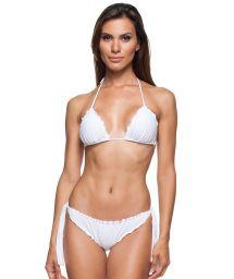White Brazilian bikini with scallop trim detailing - AREIA BRANCA