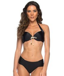 Black push-up bikini with cord knot detail - BETINA
