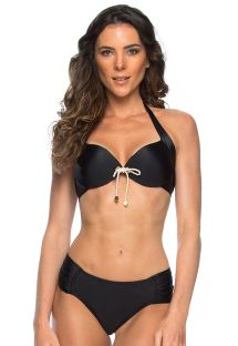Bikini push-up nero con nodo in corda - BETINA