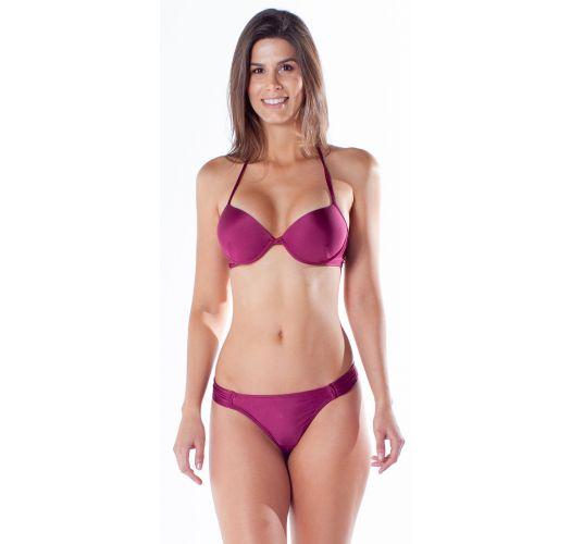 Burgundy underwired push-up balconette bikini with string bottom - BOLHA DRAPEADA ACAI