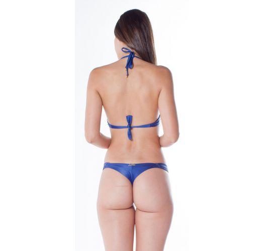 Blue balconette bikini with underwire - BOLHA DRAPEADA FIO ARARA AZUL