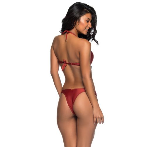 Red push-up balconette bikini with Brazilian bottom - BOLHA EBANO