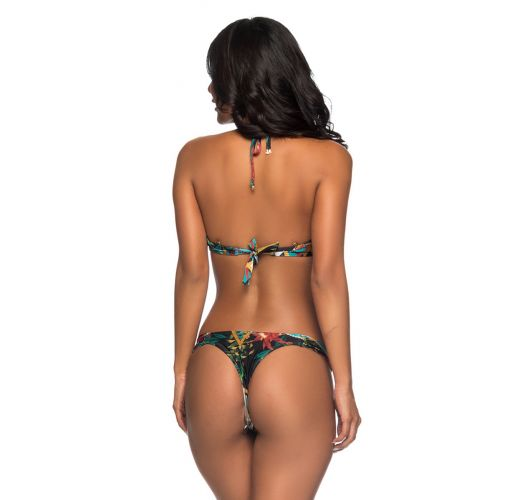 Colorful print push-up balconette bikini with Brazilian bottom - BOLHA MOSAIC