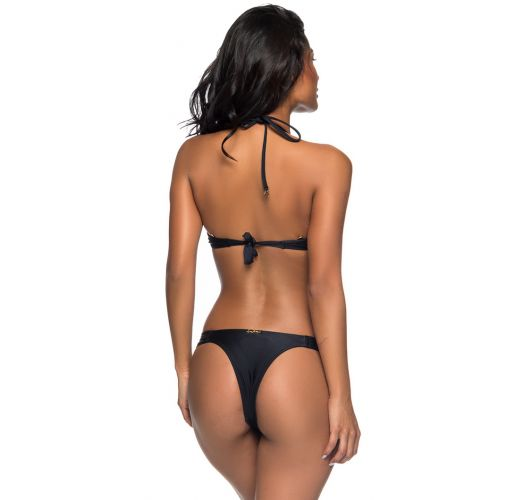 Black push-up balconette bikini with Brazilian bottom - BOLHA PRETO