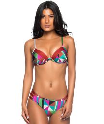 Färgglad, geometriska push up balconette bikini - BOLHA REMOV DELAUNAY