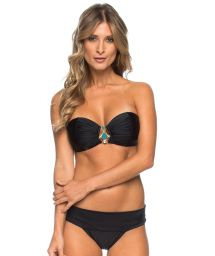 Black pleated bandeau bikini with decorative