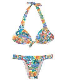 Tie-front triangle top bikini set - CERAMICHE COLORATO