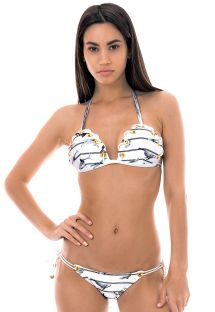Nautical triangle bikini with eyelets and cord detail - CORDA NAUTICO