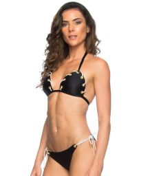 Black triangle bikini with cord and eyelet detailing - CORDA PRETO