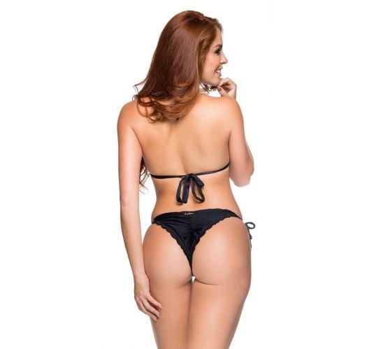 Schwarzes Triangel-Top, Scrunch-Bikinihose - CORTINAO COR PRETO