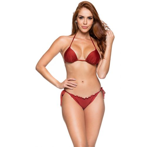 Brazilian side-tie scrunch bikini in solid red - CORTINAO EBANO