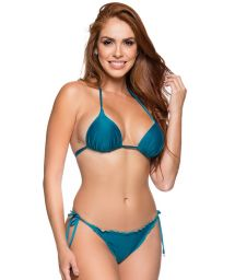 Blue side-tie scrunch bikini with padded triangle top - CORTINAO FRENCH
