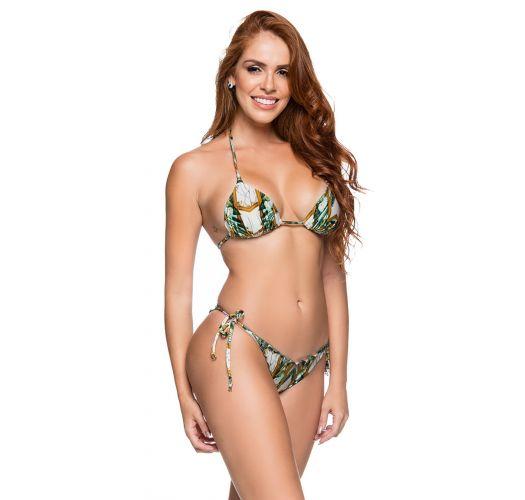 Brazilian side-tie scrunch bikini in green print - CORTINAO PAQUETARIA