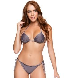 Grey side-tie scrunch bikini with padded triangle top - CORTINAO VINTAGE