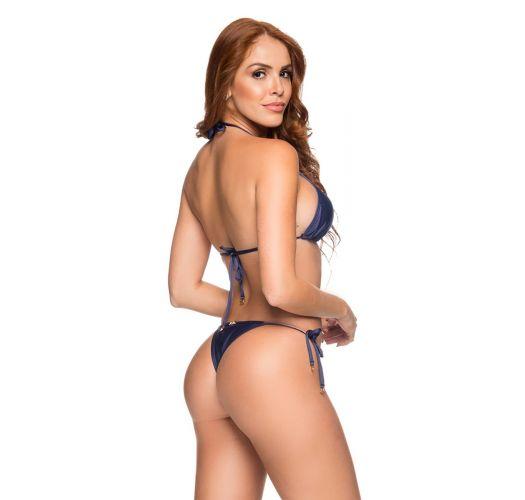 Dunkelblauer Brazilian Bikini, Seitenschnüre - CORTININHA NEW YORK