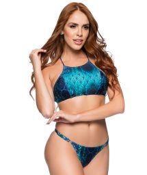 Crop top bikini with adjustable string and blue print - CROPPED DIAMOND