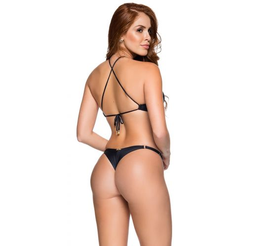 Crop top bikini with thong bottom in solid black - CROPPED PRETO