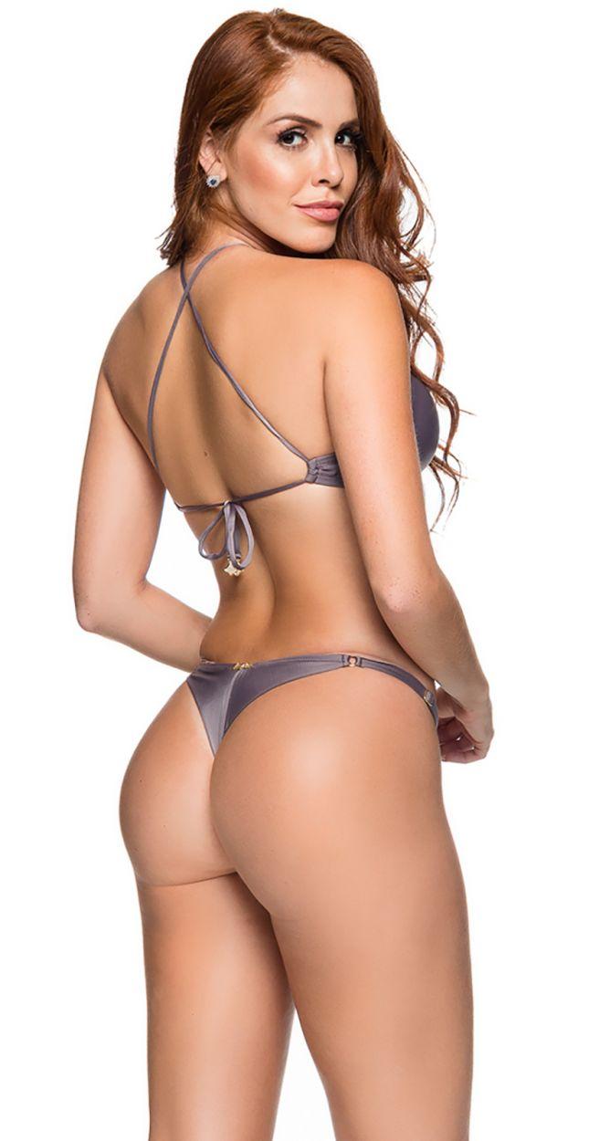 Grey adjustable string bikini with crop top - CROPPED VINTAGE