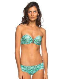 Accessorised blue print bandeau bikini - DIONE