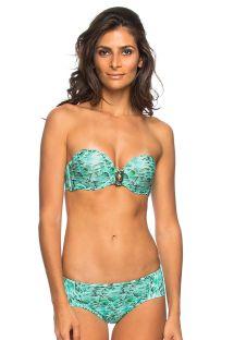 Blaugemusterter Bandeau-Bikini mit Accessoire - DIONE