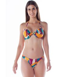 Colorful print balconette bikini with underwire - DRAPE TURBINADO RAMA