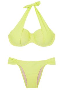 Underwired balconette swimsuit in lime yellow - DRAPEADO LIMONE