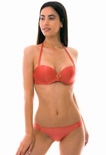 Bandeau bikini med bh-bøjler og push-up effekt - pink koralrød nuance - ESTRADA DE AREIA