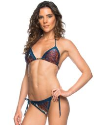 Printed Brazilian bikini with dark blue edges - FEATHER RECORTE