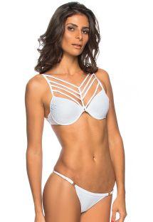 White strappy Brazilian bikini with underwire - FLORES BRANCA