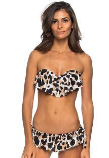Kısa etek tarzı alt ile hayvan desenli fırfırlı bandeau bikini - FOLHAS FRESCAS