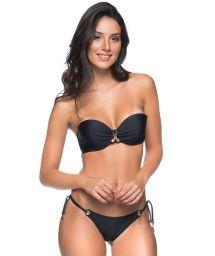 Bikini brésilien noir à œillets et bandeau - FRANZIDO PRETO
