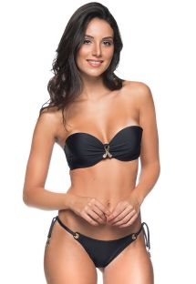 Black padded accessorized bandeau bikini with eyelets - FRANZIDO PRETO