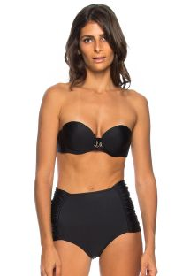 Black high-waisted bikini with bandeau top - GRECIA ANTIGA
