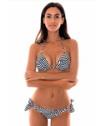 Two-tone geometric print Brazilian bikini- GUARDA PRETO