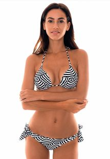 Two-tone geometric print Brazilian bikini - GUARDA PRETO