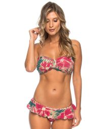 Hibiscus flower bandeau bikini with ruffle - HIBISCO COS
