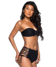 Black high-waist laced bikini - HOT AMARRAÇÕES PRETO