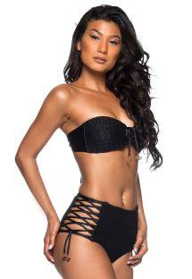 Black high-waist laced bikini - HOT AMARRAÇÕES PRETO