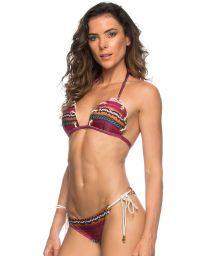Ethnic triangle bikini with rope and eyelets - ILHOS CORDA